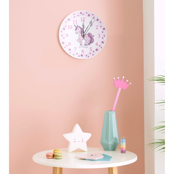 Pink Unicorn Star 'teach the time' Wall Clock-Clocks-Storklings-Storklings