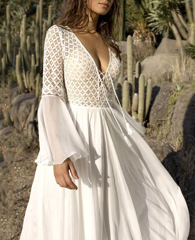 Hollowing Out V-Neck Flounce White Lace Bohemian Dress