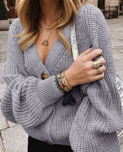 V-Neck Sweater Button Down Long Sleeve Cable Knit Cardigan