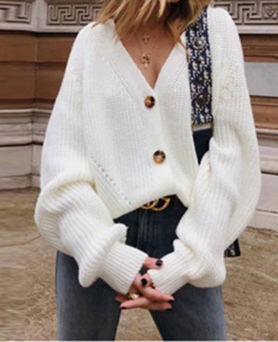 V-Neck Sweater Button Down Long Sleeve Cable Knit Cardigan1