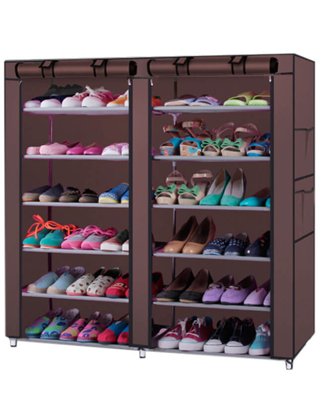 12 Tiers Dual Rows Shoe Rack Organizers Storage