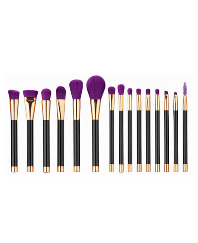 15Pcs Purple Makeup Brushes Set Synthetic Hair
