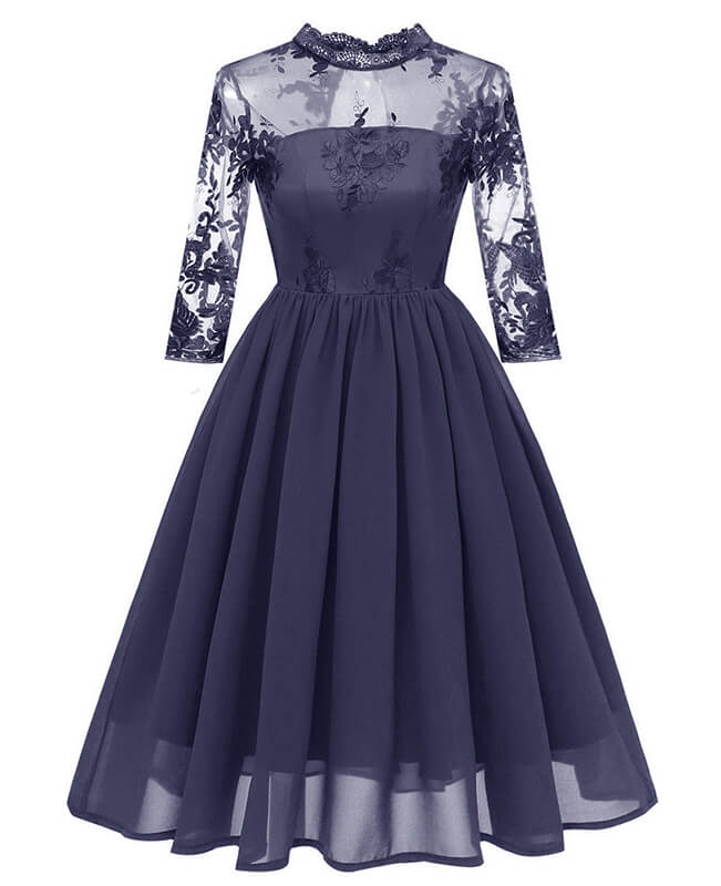 Lace Chiffon Vintage Cocktail Dresses