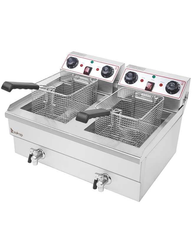 16L Dual Tanks Electric Deep Fryer for Commercial and Home