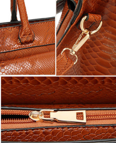 Simple Style Tote Snakeskin Handbags-7