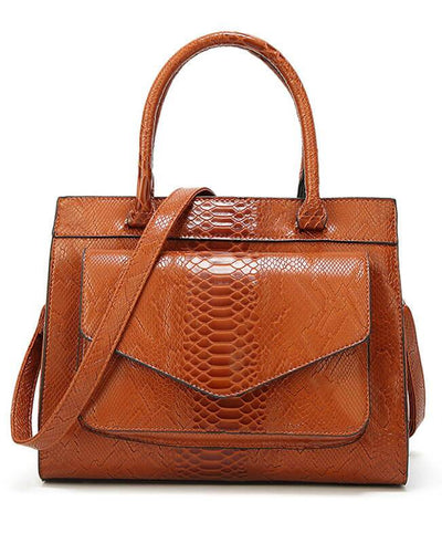 Simple Style Tote Snakeskin Handbags-1