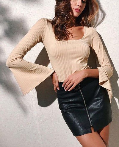 Flare Sleeve Solid Color Sexy Blouse