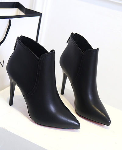 PU Leather High Heels Ankle Boots