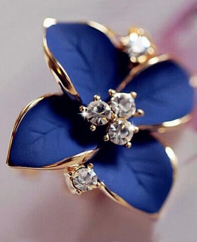 Blue Flower Ladies Gold Plated Rhinestone Earrings