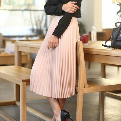 Spring All-match Chiffon Waist Fold Slim Skirt
