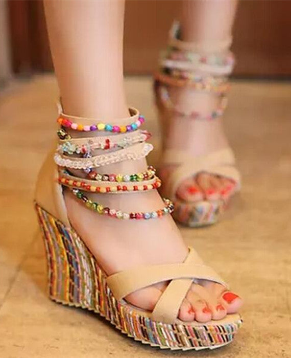 Multicolor Beads Bohemia Ultra High Heels Wedges Sandals