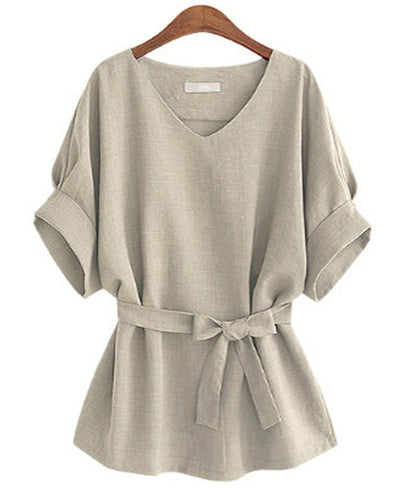 Linen Tunic Shirt V-Neck Big Bow Tie Loose Blouse