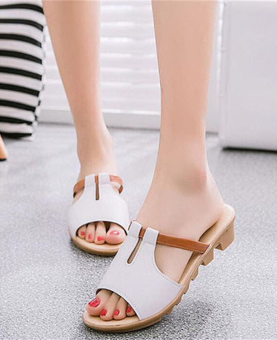 Cut Out Solid Beach Slides Slippers