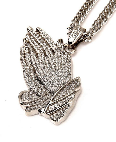 Silver Praying Hands Hip-Hop Bling Necklace