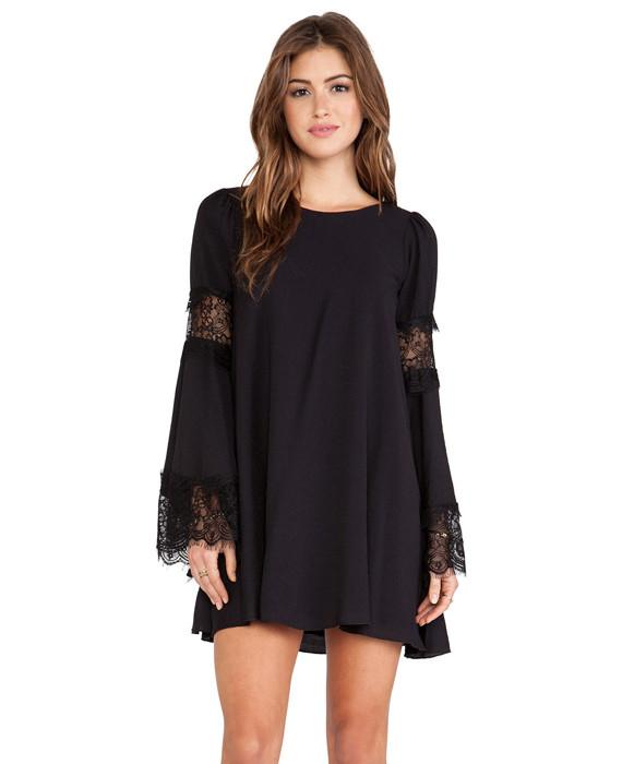 Straight Dresses Long Flare Sleeve with Hollow Lace Dress
