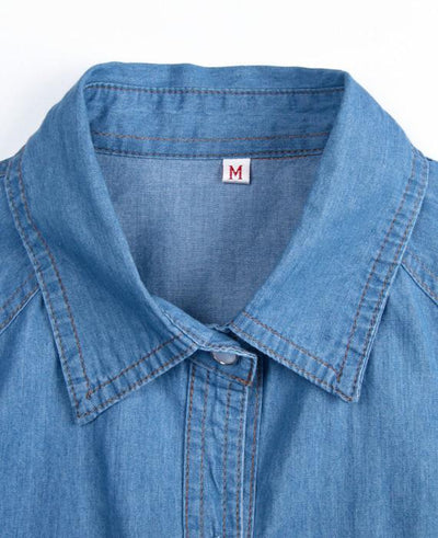 Long Sleeve Denim T-Shirt Turn Down Collar Tops