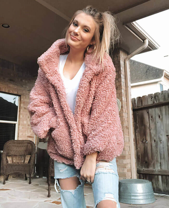 Oversized Faux Shearling Coat Womens