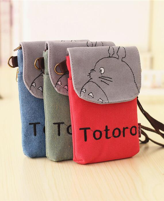 Mini Canvas Embroidered Cross Body Totoro Bag