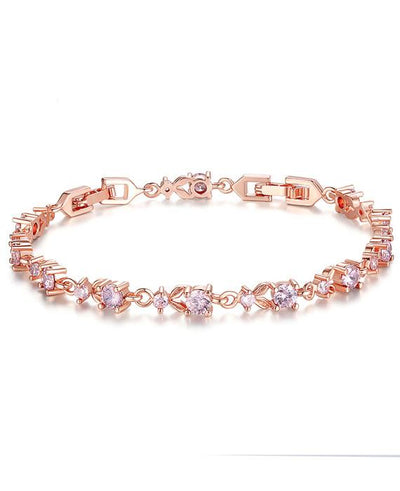 Gold Plated Chain Bracelet Shining Cubic Zircon Crystal Jewelry