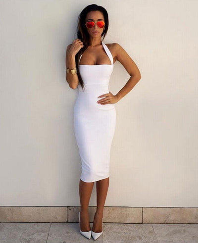 Sexy Halter-Neck Strapless Bodycon Party Dress