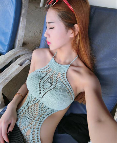 Vintage handmade Crochet One Piece Bikini Knitted Swimsuit