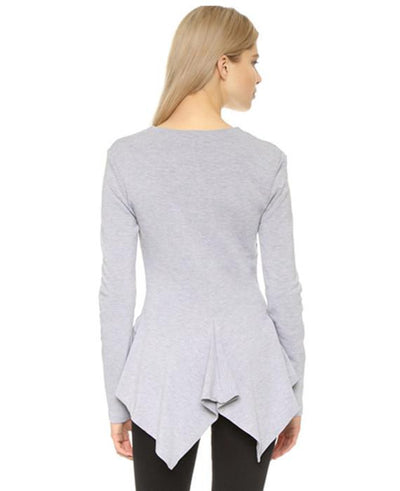 Women Cotton New Irregular Hem Slim Sleeved T-shirt Tail Tees