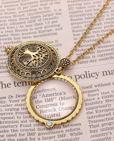 Vintage Gold Magnifying Glass Love Chain Magnetic Necklace