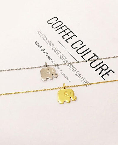 Sparkling Good Lucky Elephant Pendant Necklace Gold Silver
