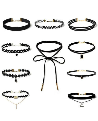10 Pcs/pack Black Lace Leather Velvet Strip Choker