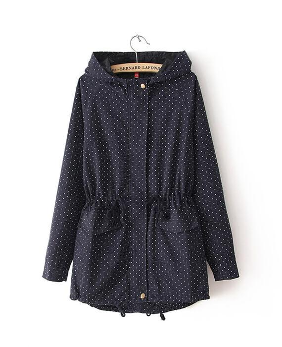 Cute Polka Dots Hooded Trench Coat