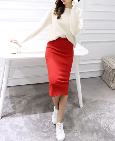 Stretch Slim Thin Female Waist Step Skirts