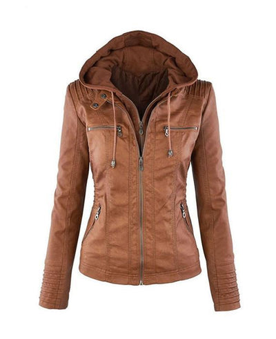 brown Women hooded faux leather jacket