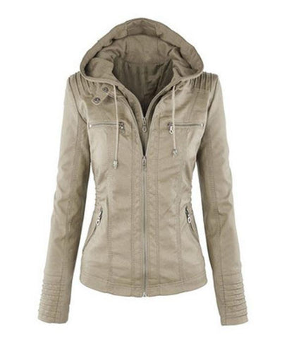 khaki hooded faux leather jacket for women
