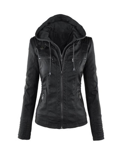 black leather jackets, Women hooded faux leather jacket black