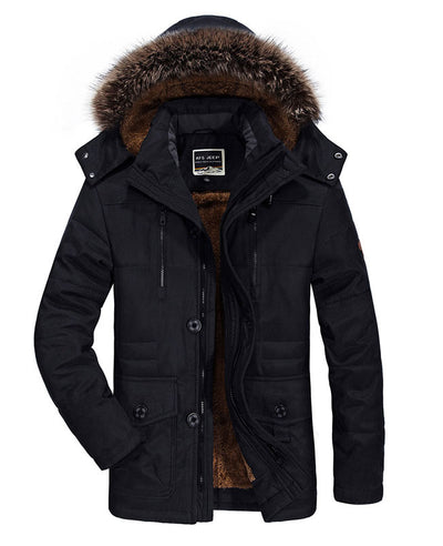 Faux Fur Lined Mens Winter Coat-4