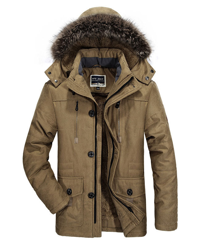 Faux Fur Lined Mens Winter Coat Winter Military Jacket