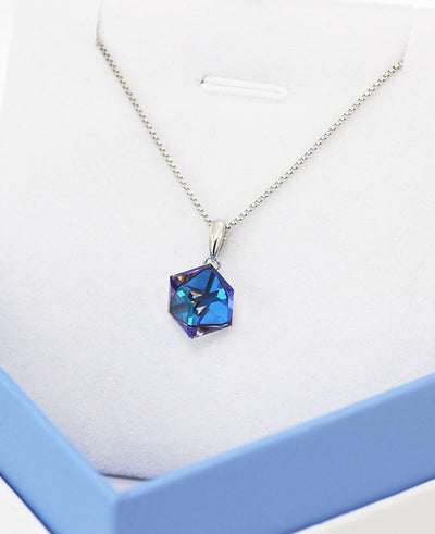 Cube Crystal Pendant Necklace for Lovers Austrian Crystal