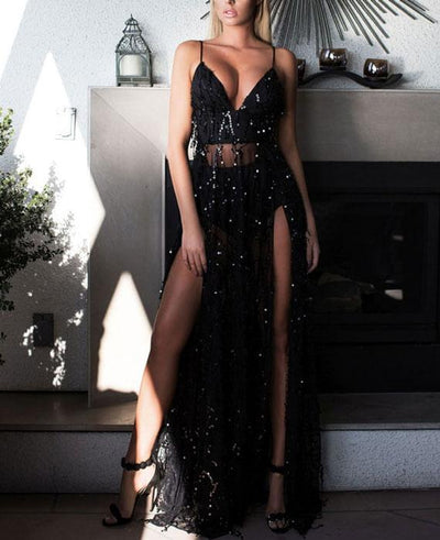 Sexy See Through Split Gold Sequined Maxi Dress