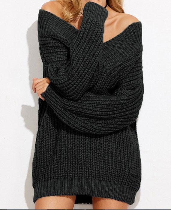 V Neck Long Sleeve Chunky Oversized Sweater