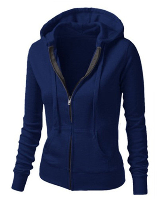 Solid Color Womens Hooded Jacket