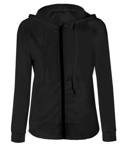 Solid Color Womens Hooded Jacket-3