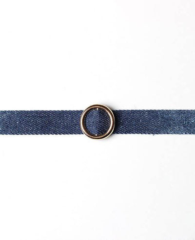 Denim Gold Color Circle Choker