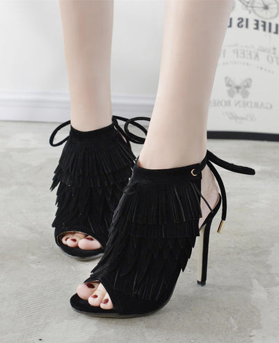 Suede Tassel Lace Up High Heel Sandals