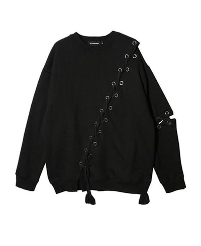 Hollow Out Lace Up Hoodies Pullover Split Sweatshirt