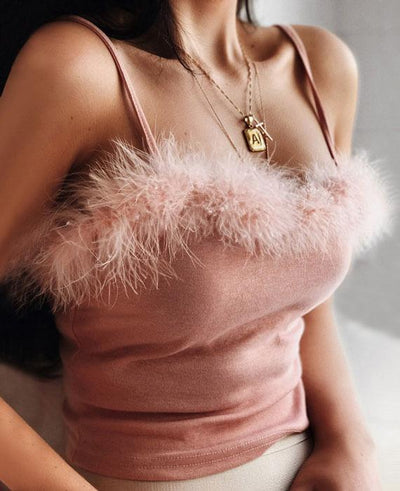 Faux Fur Pink Crop Top