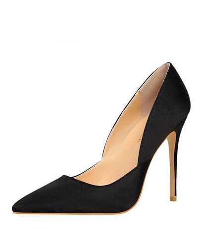 Pointed Toes Slip On Pumps Sexy Shoes Black