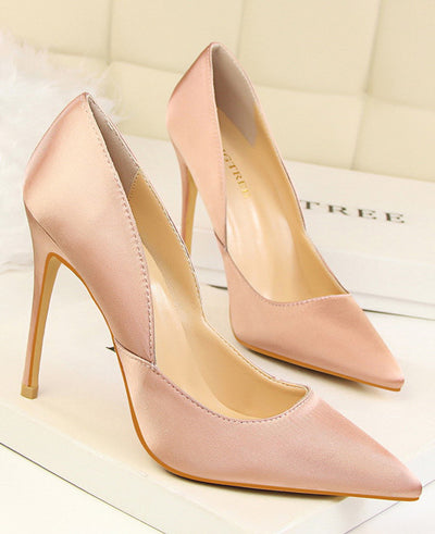 Pointed Toes Slip On Pumps Sexy Shoes Pink