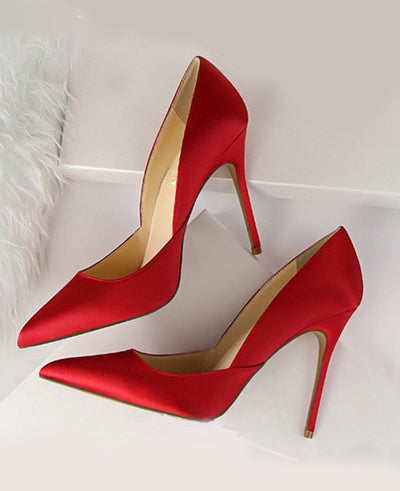 Pointed Toes Slip On Pumps Sexy Shoes Red