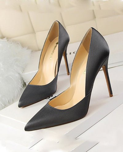 Pointed Toes Slip On Pumps Sexy Shoes Gray