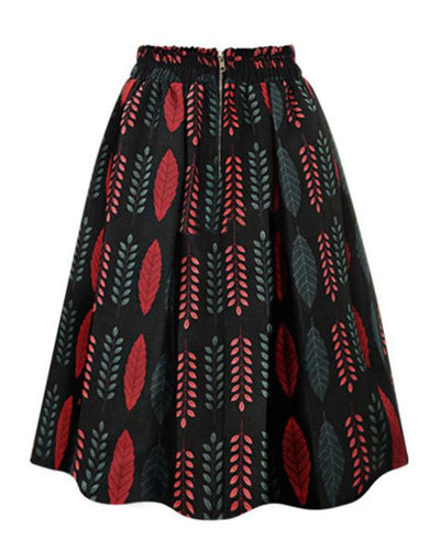 Floral Print Ball Gown Pleated Midi Skirt